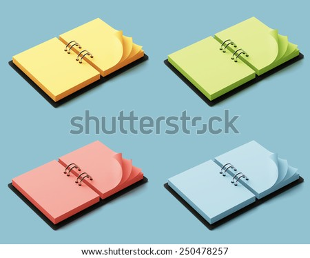 Agenda with colorful pages isolated on blue background