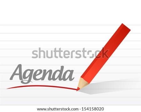 agenda written on a white paper. illustration design notepad paper - stock photo