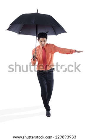 agent holding an umbrella on white background