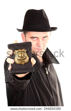 Agent is showing special officer badge - stock photo
