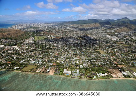 Agglomeration of Honolulu - view from helicopter - Oahu, Hawaii - stock photo