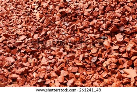 Aggregates of bricks for making concrete - stock photo