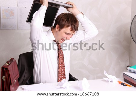 Aggression man - stock photo