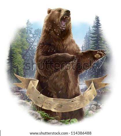 Aggressive bear. - stock photo