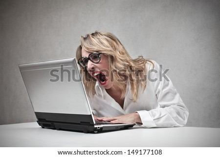 aggressive career woman - stock photo