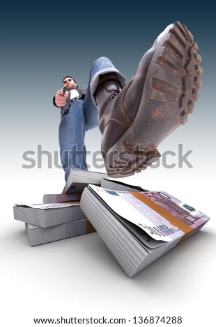 Aggressive man with gun and a pile of cash, Euros - stock photo