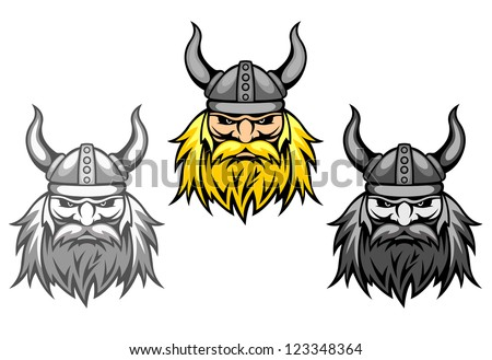 Aggressive viking warriors for mascot or tattoo design, such a logo template. Vector version also available in gallery - stock photo