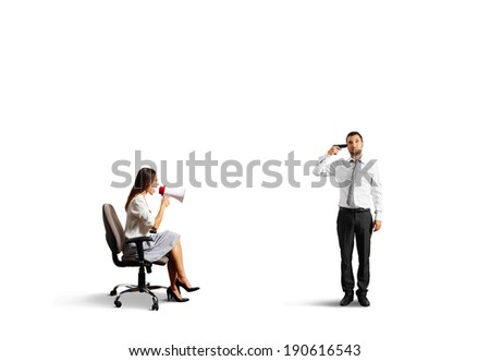 aggressive woman and stressed man with gun. isolated on white background