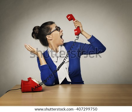 Aggressive Woman Phone Call Cry, Stressed Angry Scream over Gray Background - stock photo