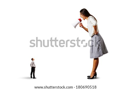 aggressive woman screaming at small man on the floor over white background - stock photo