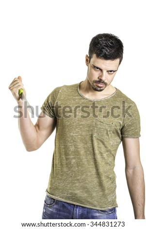 aggressive young man with a knife