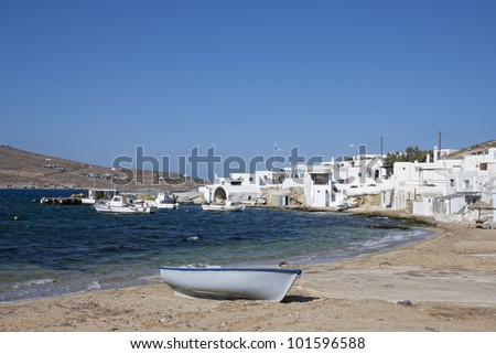 Agia Anna in Mykonos island, Cyclades, Greece - stock photo