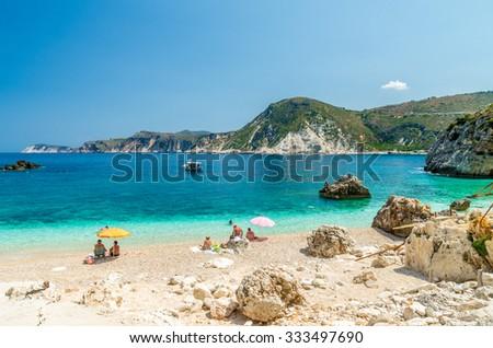 Agia Eleni beach in Kefalonia Island, Greece. One of the most beautiful rocky wild beaches of Kefalonia. - stock photo