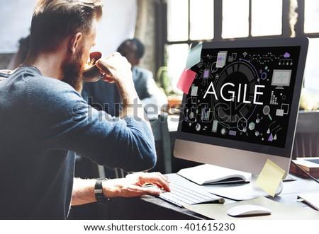 Agile Agility Nimble Quick Fast Vollent Concept - stock photo