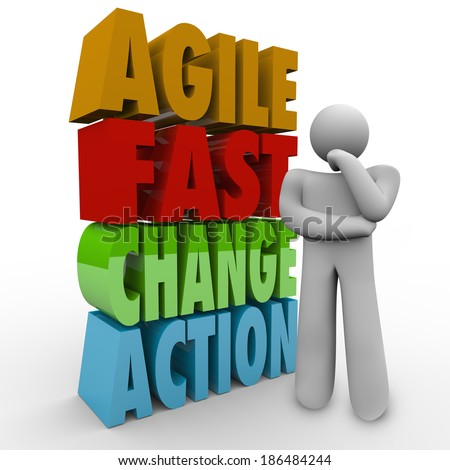 Agile Fast Change Action Words Thinking Person Planning Innovation - stock photo