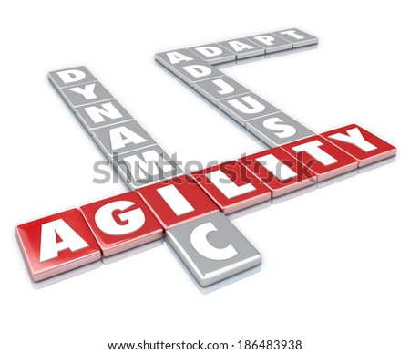 Agility, Dynamic, Adjust and Adapt Word Letter Tiles Game - stock photo