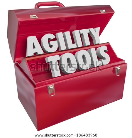 Agility Tools Red Toolbox Skills Adapt Change Innovate - stock photo