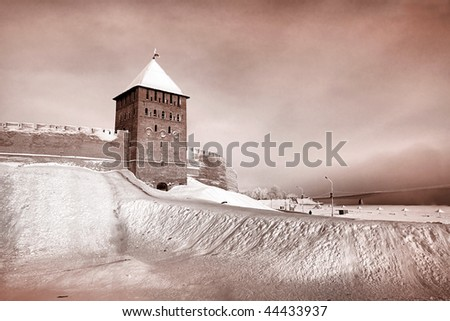 aging fortress. sepia - stock photo