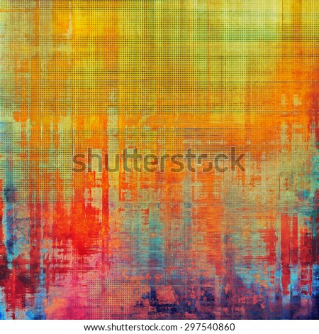 Aging grunge texture designed as abstract old background. With different color patterns: yellow (beige); green; red (orange); blue; purple (violet) - stock photo