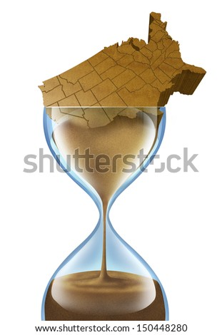 Aging Nation business concept with a population crisis that is growing older in the United States of America as a three dimensional American that is made of sand slowly going down in an hour glass. - stock photo