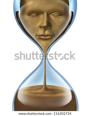 Aging process and losing self awareness and forgetting who you are as a human and business person with a face of a person made of sand fading away in an hour glass on a white background. - stock photo