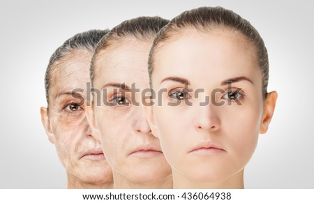 Aging process, rejuvenation anti-aging skin procedures. Old and young concept - stock photo