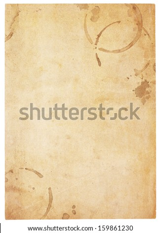 Aging, worn paper with coffee stains and rough edges. Blank with room for text or images. Isolated on White. Includes clipping path. - stock photo