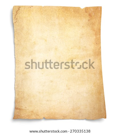 Aging, worn paper with rough edges and curled corners. Blank with room for text or images. Isolated on White with drop shadow.