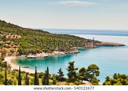 Agioi Anargyri beach in Spetses island, Greece