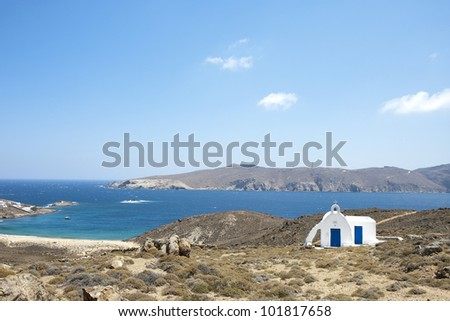 Agios Iacobos church in Agios Sostis bay, Mykonos, Greece - stock photo