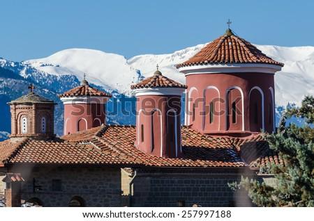 Agios Stefanos monastery domes in Meteora Greece - stock photo