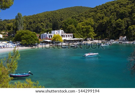 Agnontas bay at Skopelos island in Greece - stock photo