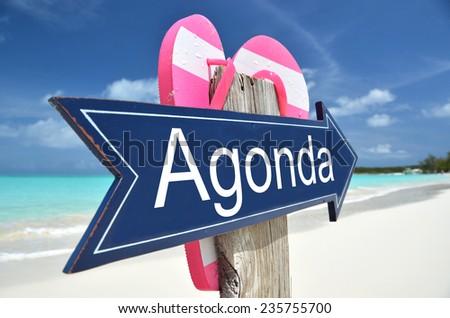 Agonda (a Goa beach) arrow on the beach - stock photo