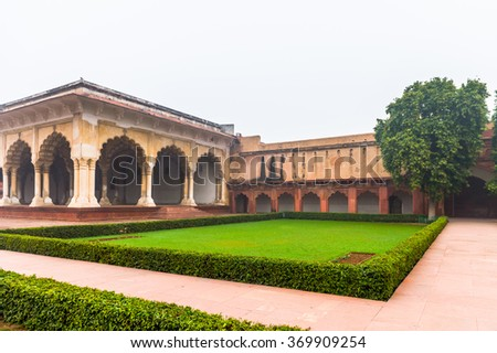 Agra Fort Diwan I Am (Hall of Public Audience) at the Red Fort of Agra, India. UNESCO World Heritage site.