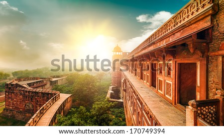 Agra Fort, is a monument,  a UNESCO World Heritage site located in Agra, Uttar Pradesh, India. The fort can be more accurately described as a walled city. - stock photo