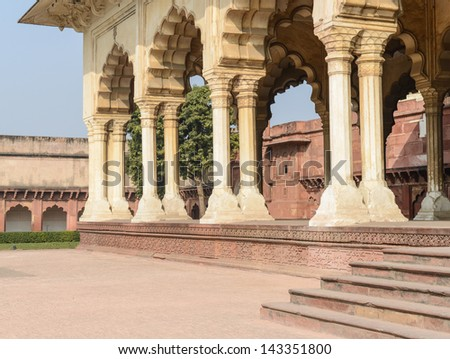 Agra Fort Pillars - stock photo
