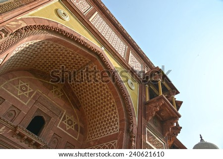 Agra, India - December 7 2013: Agra Fort is a UNESCO World Heritage site located in Agra, Uttar Pradesh close to the Taj Mahal. Jahangir Palace is very beautiful. - stock photo