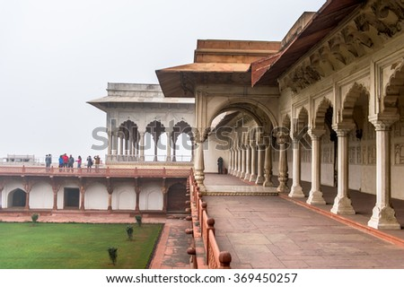 AGRA, INDIA - JAN 21, 2016: Red Fort of Agra, India. UNESCO World Heritage site.