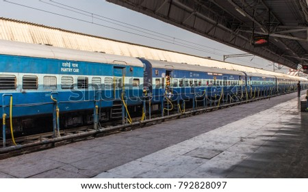 AGRA INDIA 10 January 2018 - A train arriving at the railway station in Agra India unesco site.