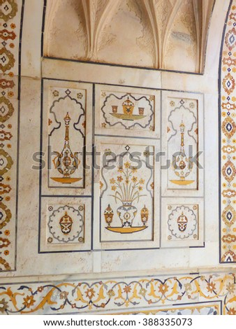 AGRA, INDIA - NOVEMBER 6: Detail of hardstone carving in Itimad-ud-Daulah Mausoleum on November 6, 2014  in Agra, India. This Mausoleum is often regarded as a draft of the Taj Mahal.