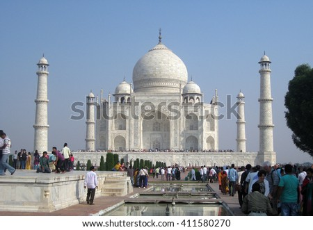 Agra, Uttar Pradesh, India  - October 2011: Crowd in the Taj Mahal, one of the New Seven Wonders of the World.  - stock photo