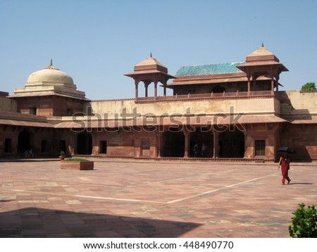 Agra, Uttar Pradesh, India - October 2011: View of the entrance to Queen's Palace in the Fatehpur Sikri Palace, a UNESCO World Heritage. - stock photo
