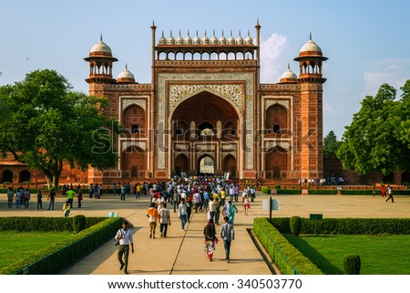 Agra, Uttar Pradesh, India - September 20, 2015: Visitors at the Taj Mahal complex on September 20, 2015, in Agra, Uttar Pradesh, India. - stock photo