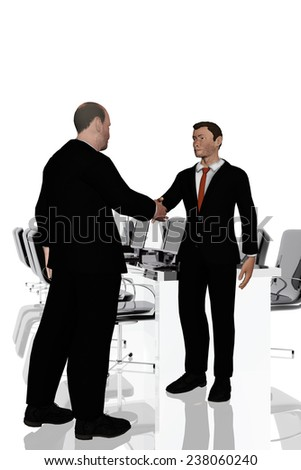Agreement between businessmen in office - stock photo