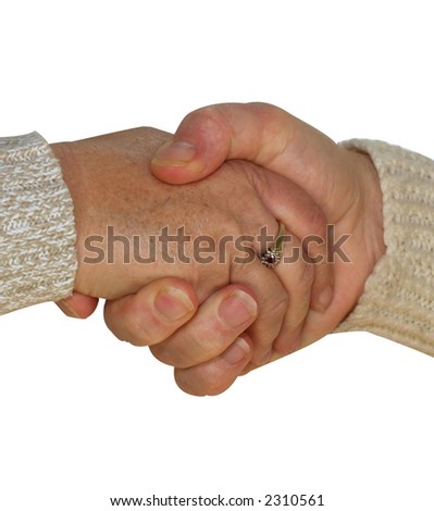 Agreement between friends shown by a handshake