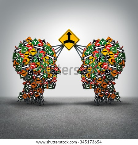 Agreement business concept as two groups of traffic signs shaped as a human head connected together by a big signage with a merger arrow icon as a metyaphor for making a deal with collaboration. - stock photo