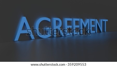 Agreement concept word - blue text on grey background.