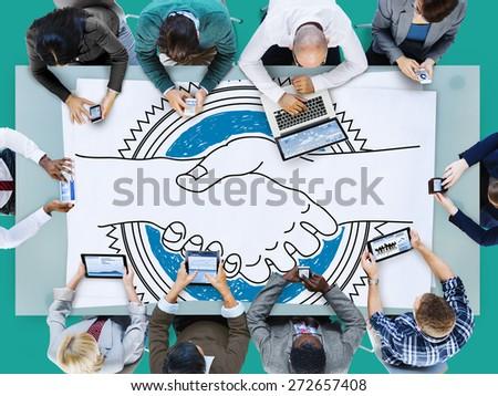Agreement Greeting Handshake Partnership Team Concept - stock photo