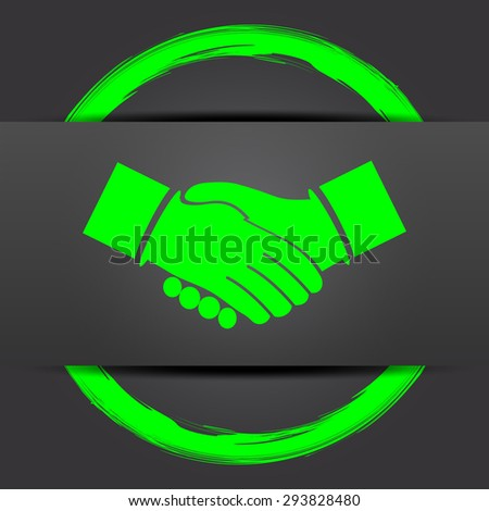 Agreement icon. Internet button with green on grey background.  - stock photo