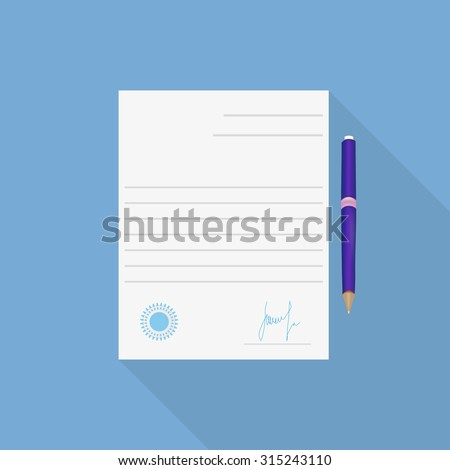 Agreement icon long shadow contract and pen